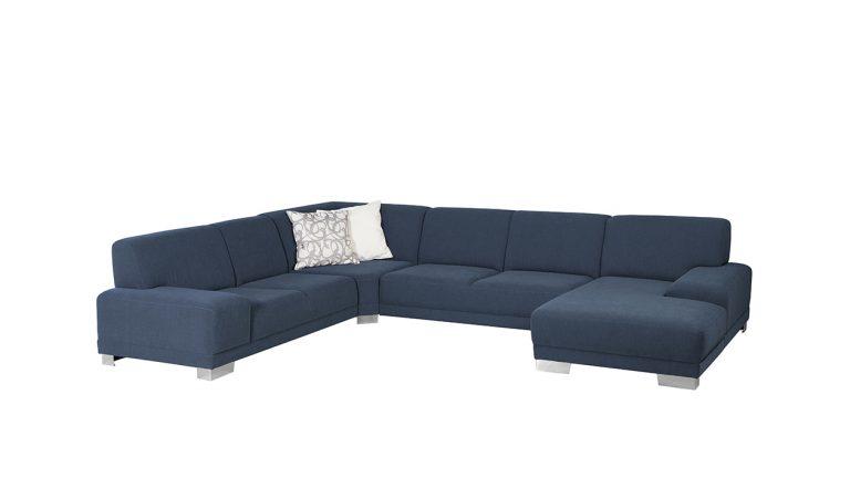 Moderná rozkladacia sedačka COSMO s nízkymi podrúčkami v modrej látke.