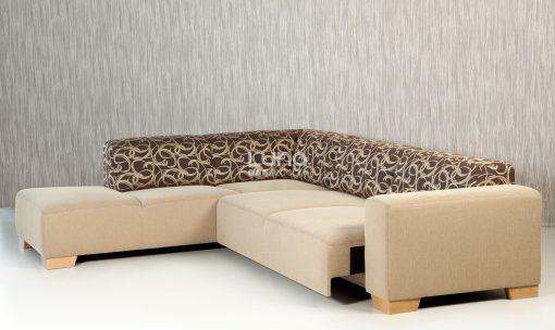 Vysunutý výsuv modernej sedačky MAMBA s výrazným vzorom na operadlovej časti.