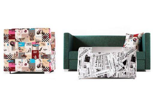 Minimalistická rozkladacia sedačka, kreslo a taburet PRIMA v štýlových poťahoch.