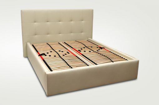 Moderná čalúnená posteľ MILANO v béžovej farbe s roštami.