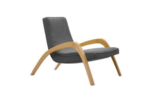 Dizajnové relaxačné kreslo JAZZ v šedom čalúnení.