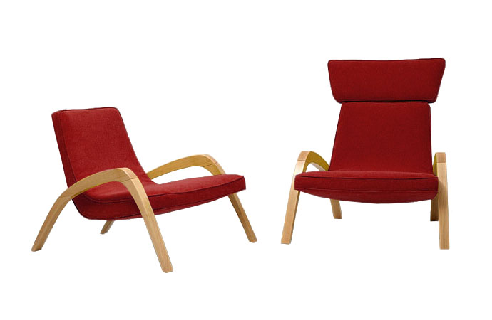 Dve dizajnové relaxačné kreslá JAZZ a JAZZ MAX, jedno bez hlavovej opierky, v červenom čalúnení.