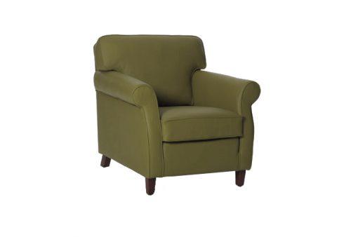 Pohodlné klasické kreslo SOUL v olivovej farbe.