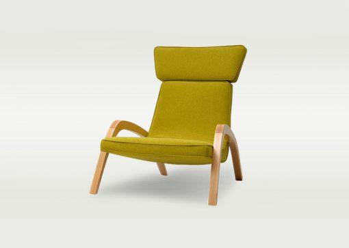 Dizajnové relaxačné kreslo JAZZ MAX v žltom čalúnení, pohľad zpredu.