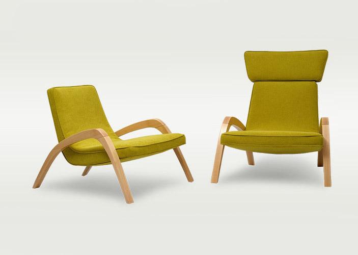 Dve dizajnové relaxačné kreslá JAZZ a JAZZ MAX, jedno bez hlavovej opierky v žltej farbe.