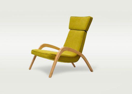 Dizajnové relaxačné kreslo JAZZ MAX v žltom čalúnení, pohľad zboku.