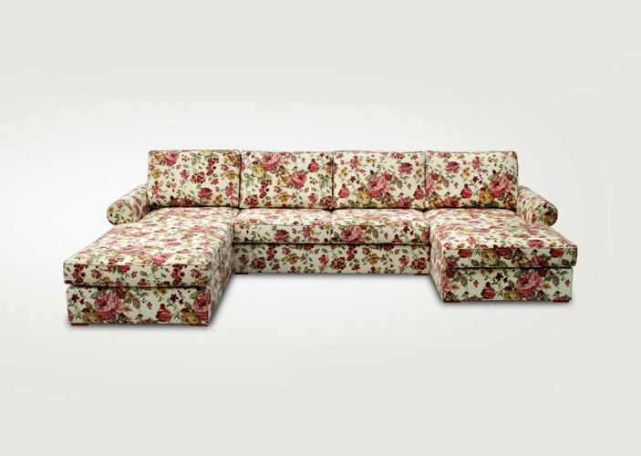 Klasická podušková sedačka VEGAS s kvetinovým vzorom.