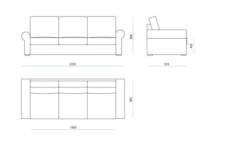 Rozmery modulov sedačky VEGAS
