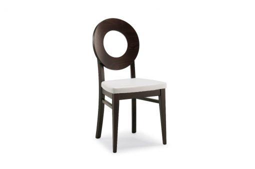 Štýlová drevená stolička BRIDGEPORT s čalúneným sedákom bez opierok na ruky.