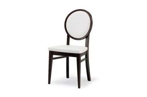 Štýlová drevená stolička Columbia s okrýhlym čalúnením chrbtovým operadlom.