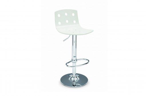 Barová stolička FRESNO s bokovou nohou a bielym sedákom.