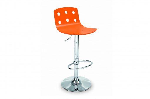 Barová stolička FRESNO s bokovou nohou a oranžovým sedákom.