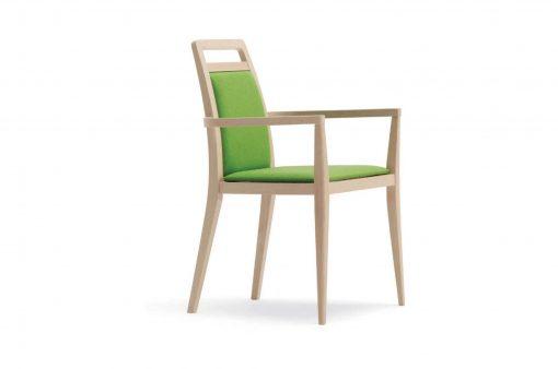 Univerzálna stolička Manchester so zeleným čalúnením a ručnými opierkami.