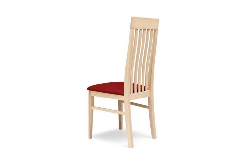Drevená stolička RENO s červeným čalúneným sedákom pohľad zozadu.