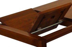 Celomasívny jedálneský rozkadací stôl MARIO pri rozkladaní.