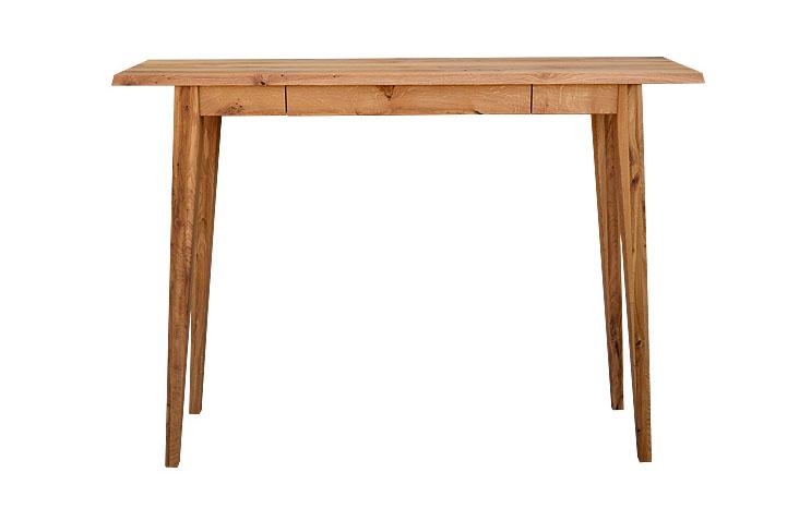 Konzola Kozina so štýlovými vysokými nohami a otvorenou praktickou zásuvkou v strede stola.