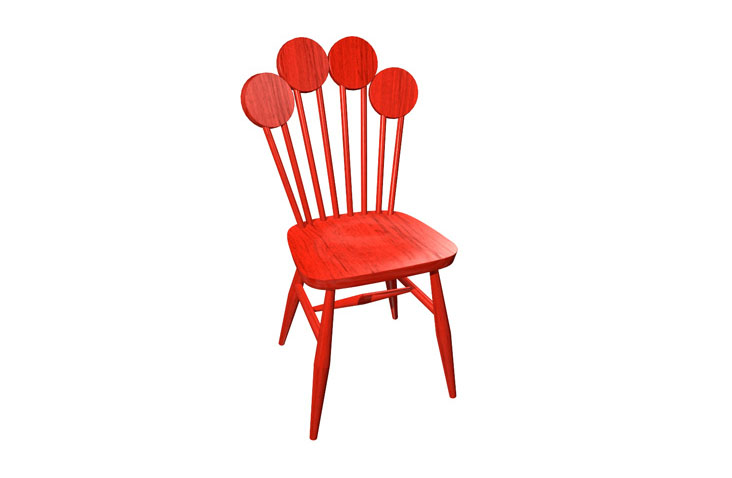 Dizajnová stolička PAF v červenej farbe.