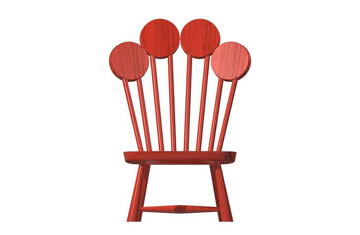 Dizajnová stolička PAF v červenej farbe, pohľad zpredu.