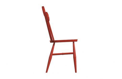 Dizajnová stolička PAF v červenej farbe, pohľad zboku.