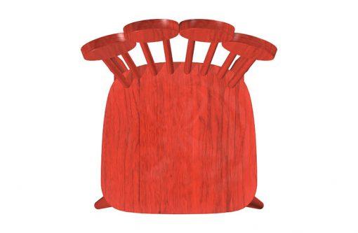 Dizajnová stolička PAF v červenej farbe, pohľad zvrchu.