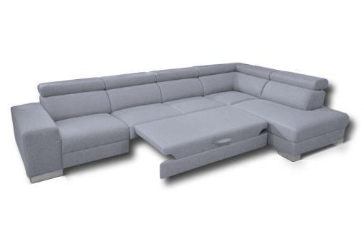Roztiahnuté lôžko trendovej sedačky HOUSTON s nastaviteľnými opierkami hlavy, komfortnou funkciou spania, ako aj s úložným priestorom.