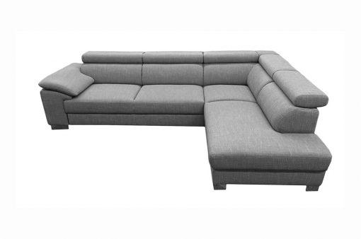 Trendová sedačka HOUSTON s nastaviteľnými opierkami hlavy, komfortnou funkciou spania, ako aj s úložným priestorom v šedej farbe.