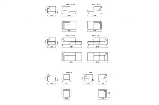 Rozmery dizajnovej a nadčasovej sedačky MANHATTAN s pohodlným sedením.