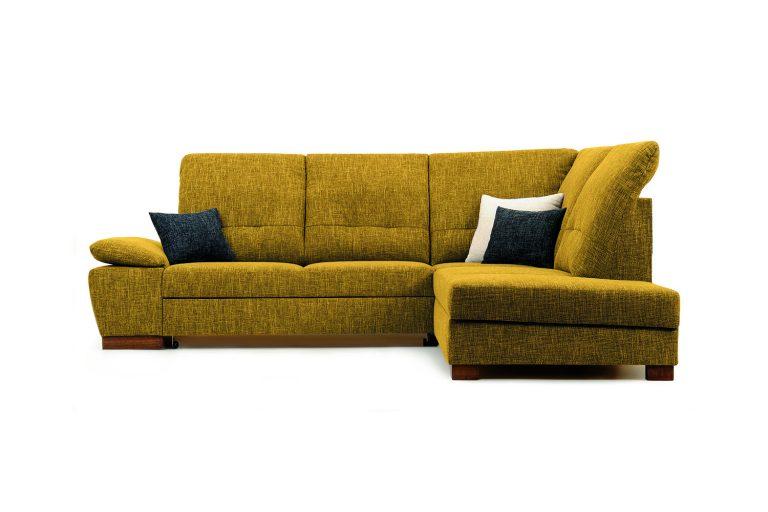 Pohodlná polohovateľná sedačka MALMO s možnosťou úložného priestoru a rozloženia lôžka na príležitostné spanie v horčicovej farbe.