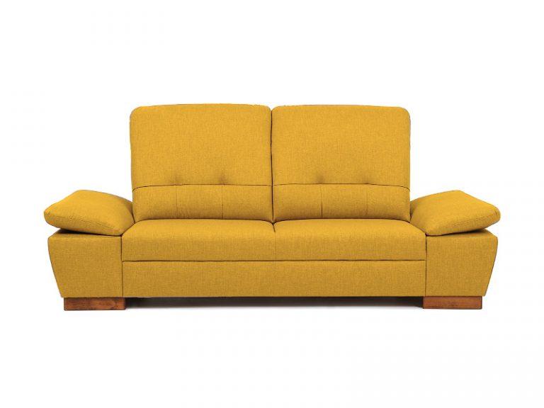 Pohodlná polohovateľná sedačka MALMO s možnosťou úložného priestoru a rozloženia lôžka na príležitostné spanie v horčicovej farbe v prevedení pohovka.