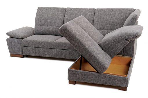 Úložný priestor vankúšovej pohodlnej polohovateľnej sedačky MALMO s možnosťou rozloženia lôžka na príležitostné spanie.