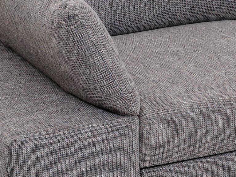 Detail vankúšovej pohodlnej polohovateľnej sedačky MALMO s možnosťou úložného priestoru a rozloženia lôžka na príležitostné spanie.