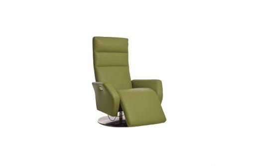 Funkčné a moderné motorové kreslo ROLAND s polohovateľným chrbtovým operadlom a podnožníkom na nohy v zelenej farbe.