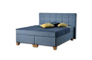Komfortná posteľ hotelového typu BED-BOX, FLORENCIA 2 v modrej farbe.