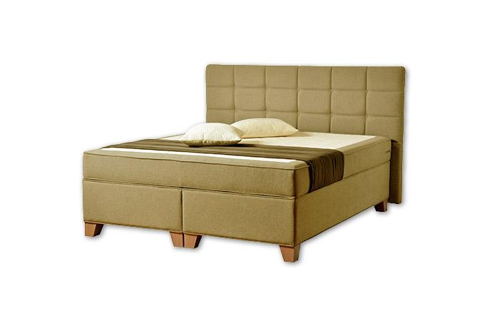 Komfortná posteľ hotelového typu BED-BOX, FLORENCIA 2 v horčicovej farbe.