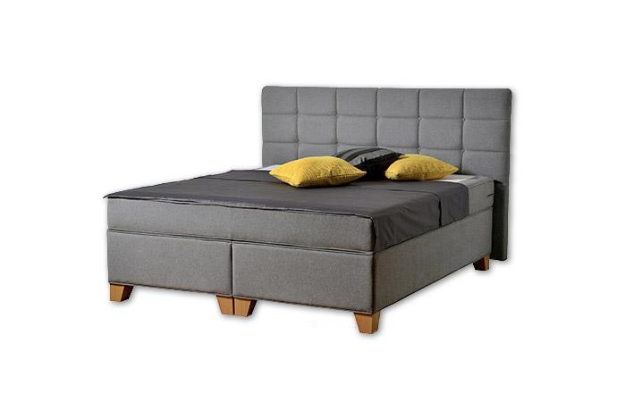 Komfortná posteľ hotelového typu BED-BOX, FLORENCIA 2 v šedej farbe.