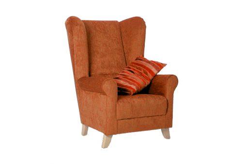 Pohodlné a štýlové kreslo UŠIAK MAX v oranžovej farbe.