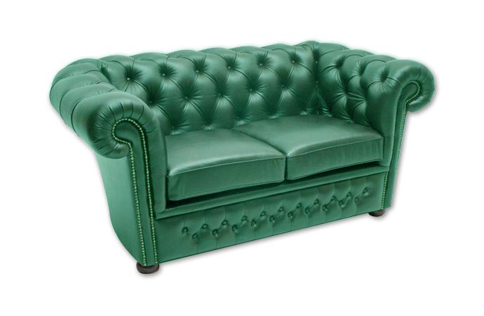 Pohovka CHESTERFIELD v zelenej-smaragdovej koži s vybíjaním, 2sed.
