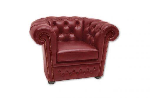 Štýlové a luxusné kreslo CHESTERFIELD v červenej koži v vybíjaním.
