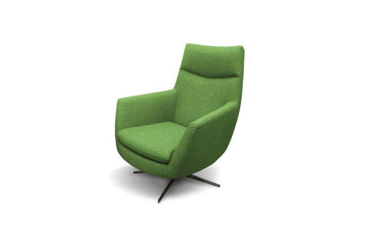 Moderné kreslo EG s pohodlným sedením v zelenej farbe.